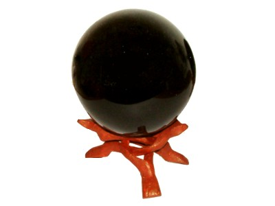 Black Smokey Obsidian Sphere 80mm & Stand